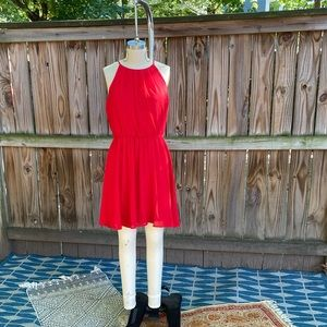 Red Chiffon Dress with Gold Hoop Earrings